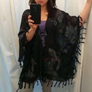 Jackets & Blazers - Black Floral Kimono Vest Fringe Hemline